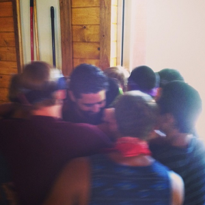 The guys giving me a group birthday hug.